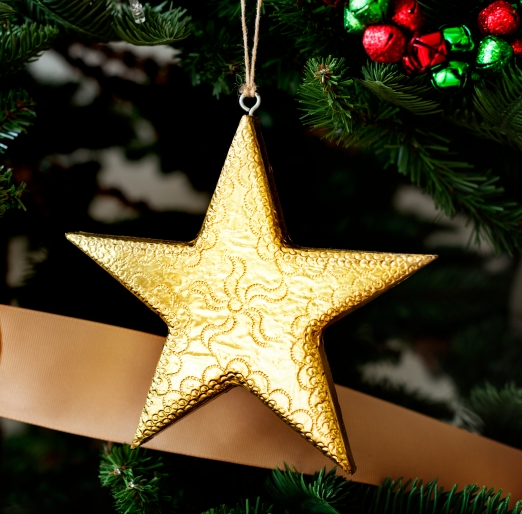 Closeup of Christmas tree ornaments
